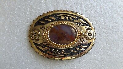 Ladies - Mens Gold Tone Belt Buckle With Gemstone