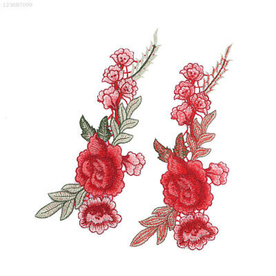2Pcs Rose Flower Leaves Embroidery Patches Sticker Clothing Sew Clothes Applique