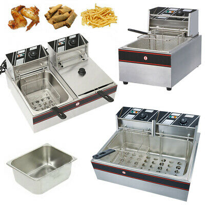 UK Commercial Electric Deep Fryer Double Tanks Baskets Fat Chip Fries 5KW 22.5L