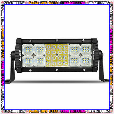 7inch Quad-Row 768W LED Light Bar Combo Offroad Driving Lamp 4WD Tractor 6'' 9""
