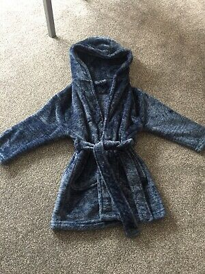 Next Boys Blue Hooded Dressing Gown Sz 2-3 Years