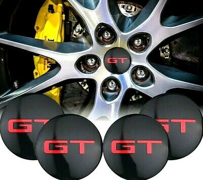 x4 pcs GT WHEEL CENTRE HUB CAP 56mm DOMED STICKERS ALLOY WHEEL For GOLF GT FORD