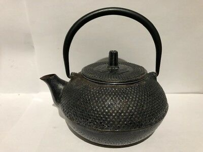 Vintage Japanese Cast Iron Tetsubin Small Hobnail Teapot Black with filter/lid