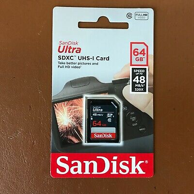 SanDisk 64GB Ultra SDHC SD Card Class 10 UHS-I Fast Memory Card For Camera