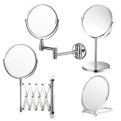 Make Up Cosmetic Mirror Adjustable Round Free Standing Wall Mount Bathroom