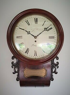 A Quality 8 Day Fusee Drop Dial Wall Clock By Stewart Of Newport 1855 - Gw Order