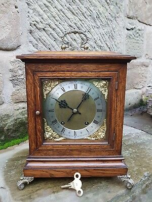 A FINE OAK STRIKING MANTEL CLOCK BY W&H 1st PRIZE WORTHING BICYCLE RACE 1890