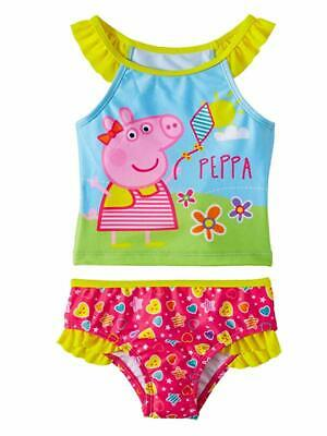 Peppa Pig Girls Blue & Pink 2 Piece Tankini Swimming Bathing Suit   2T 3T 4T 5T