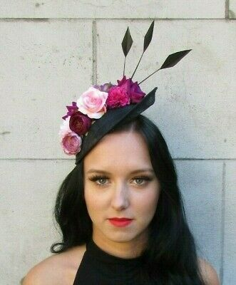Black Fuchsia Hot Pink Rose Feather Flower Disc Hat Fascinator Races Hair 7616