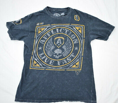 Affliction T-Shirt Men's Short Sleeve Charcoal Distressed Look Live Fast Size L