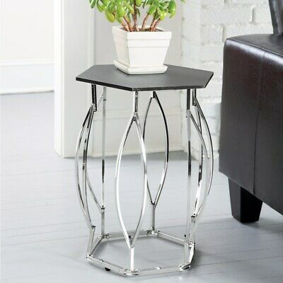 Hexagon Frame Side Table Coffee Console End Table Chrome plated wood top