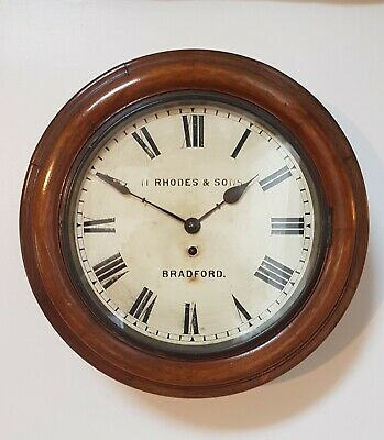 A Late 19Thc Fusee Wall Clock By Manoah Rhodes & Sons, Bradford - Lovely Clock