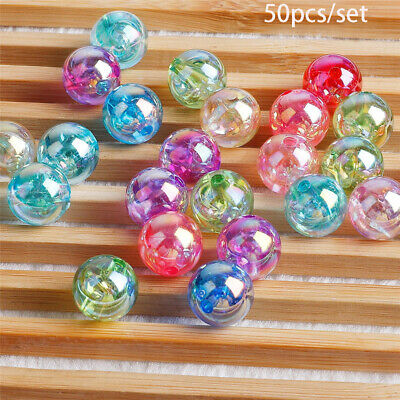 color Round Bracelet Acrylic Bead Loose Spacer Beads  With Hole Jewelry Making