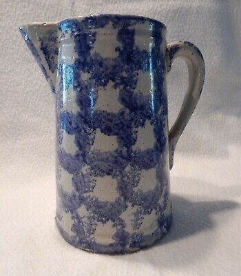 ANTIQUE BLUE SPONGEWARE PITCHER, Smoke Ring/Chainlink pattern, VG cond., 1800s