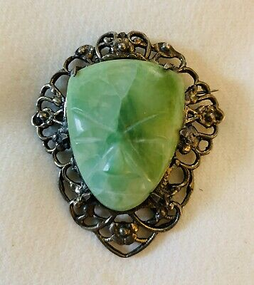 Vintage Sterling Mexican Jade Large, Ornate Carved Aztec Mask Brooch Pendant