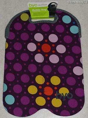 New Built NY BYO - Two-Bottle Insulated Beverage Bag Flower Purple Dots Design