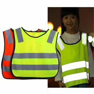 Safety Hi Vis Kids Waistcoat Vest Grey Reflective Strips Traffic Warning Clothes