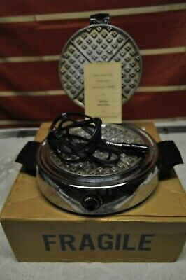 Vintage Dominion 1315A Round Waffle Maker  with original box