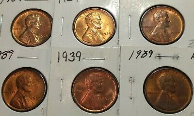 "1939 P.D.S Lincoln Wheat 1c#3 GEM BU//RED/""s/""ORIGINAL MINT LUSTER/""from OBW Roll"