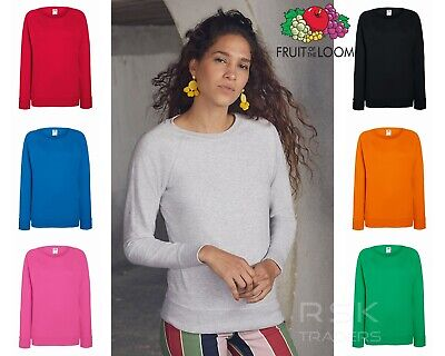 Women Sweatshirt Fruit Of The Loom Lady Fit Raglan Ladies Sweatshirt Crew Neck