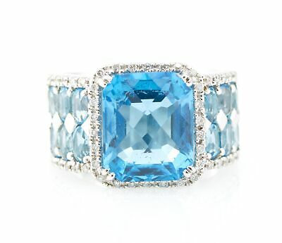 925 Sterling Silver 9.33ct Radiant Shape Blue Topaz Diamond Estate Gemstone Ring
