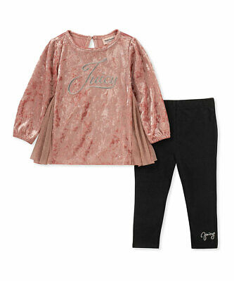 Juicy Couture Infant Girls Pink Velvet Tunic & Black Leggings - Sz 12 mos