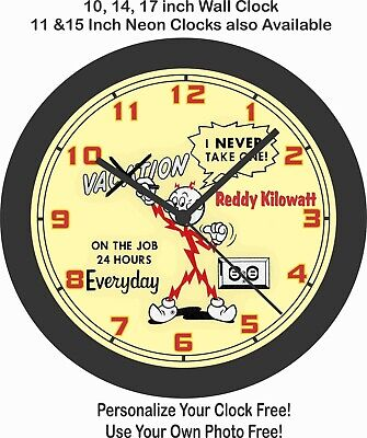 Reddy Kilowatt No Vacation On The Job 24Hrs A Day Wall Clock-Free Usa Ship!