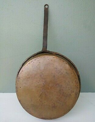 Antique Hand Forged Wrought Copper & Steel Large Riveted Pan #4