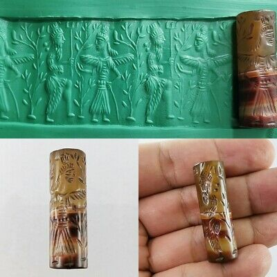 Sassanian Agate Stone Bead Seal Old Beauty Roll Cylinder Intaglio #117