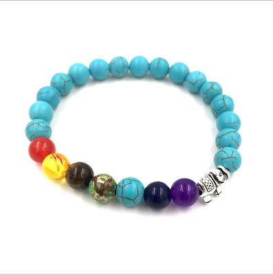 Chakra Diffuser Bracelet with Essential Oil Set - Lava Stone Healing Beads Blue