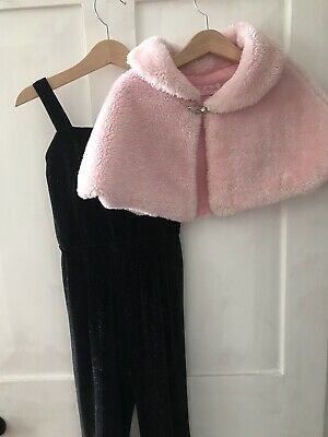 M&Co Girls Sparkly Party Jumpsuit Romper Playsuit Velour Pink Bolero Size 5-6 Y