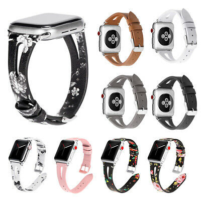 Dressy Floral Genuine Leather Strap for Apple Watch Iwatch 38 40 42 44mm Band