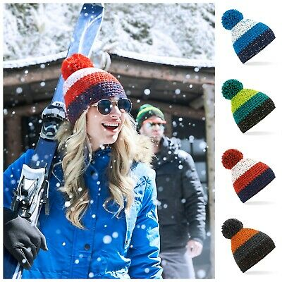 Knitted Pom Beanie Chunky Winter Warm Woolly Bobble Ski Hat Mens Womens Ladies
