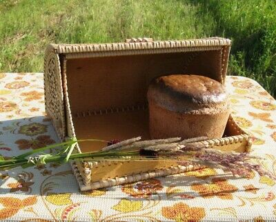 Tree bark bread storage box bin kitchen cake food container bread