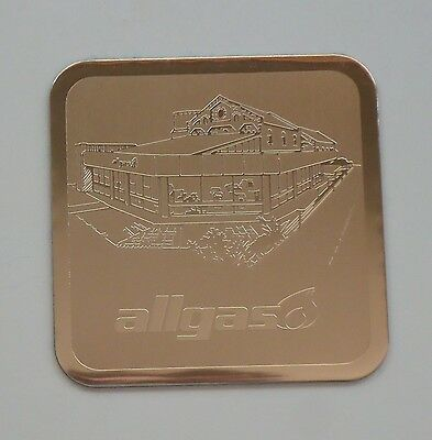 Gold 'ALLGAS' Embossed Aluminium Promotional Drink Coaster