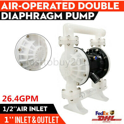 PTFE Double Diaphragm Pump Air-Operated Vacuum Pump 26.4GPM 1'' Inlet & Outlet