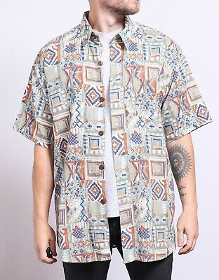 MENS SIZE LARGE Vintage Abstract Crazy Pattern Shirt Retro