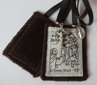 Traditional Catholic Scapular All edges sewn No fraying 2 layers 100% Brown Wool