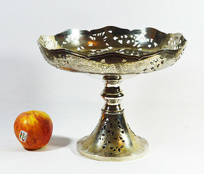 569 Grams Large Antique Chinese Export Sterling Silver Tazza Bowl By Zeewo