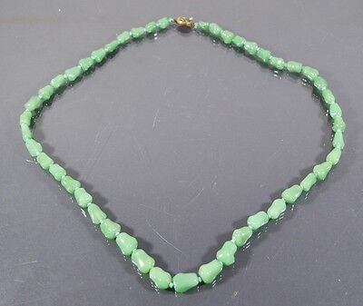 Vintage Chinese Green Jade Jadeite Necklace Bead Silver Filigree