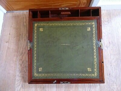 Antique Victorian Large Mahogany Brass Inlay C 1860 Writing Slope 6 X 19 X 10""