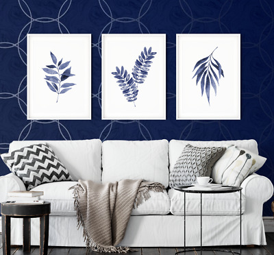 3pc Blue Wall Art Navy