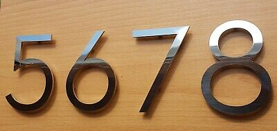 """Large stick-on house number brushed stainless steel 6/""""//150mm Art Deco"""
