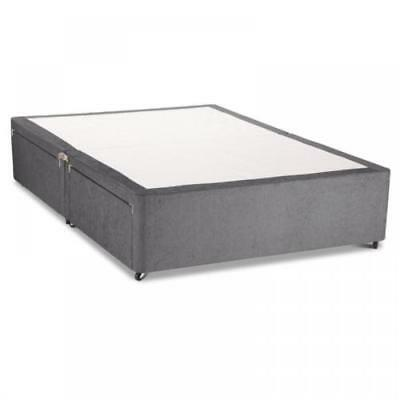 Charcoal Chenile Divan Base With Under Bed Drawer Storage - All Sizes