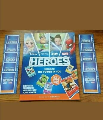 Sainsbury's Heroes Collectors Album & 10 Sealed Pack of Cards