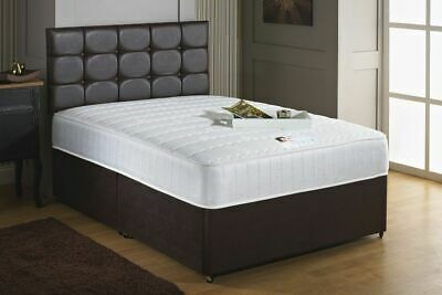 Dark Brown Faux leather divan bed set with FREE button headboard + mattress 4FT6