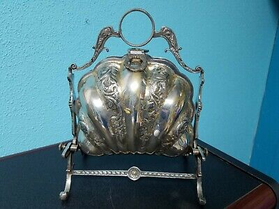 SILVER PLATE Handmade CLAM SHELL BUN WARMER BISCUIT BOX