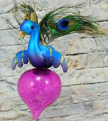 """Winward Holiday 8"""" Peacock Glass Christmas Tree Ornament Teal w/ Onion Feathers"""