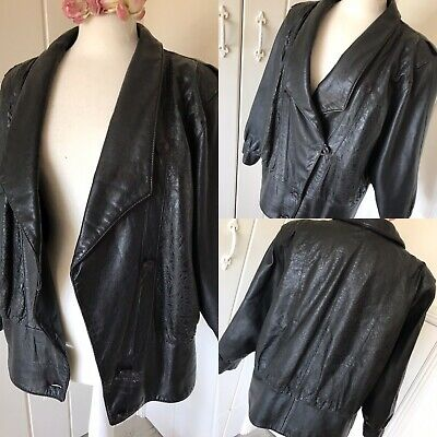 1980s Ladies Black Leather BOXY SWAGGER Jacket VINTAGE Pad Shoulder ICONIC