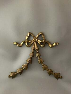 VTG BRASS FRENCH BOW & RIBBON FRAME or FURNITURE APPLIQUE MOUNT PEDIMENT PLAQUE
